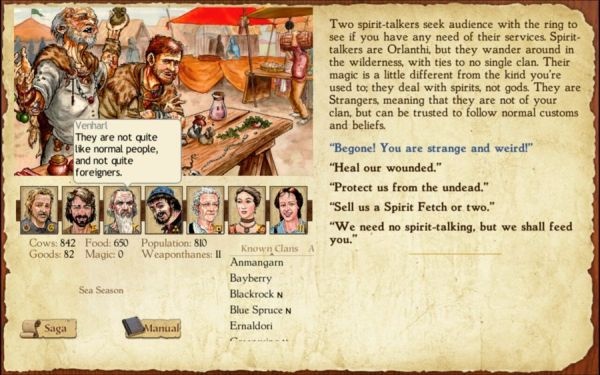 A narrative choice screen from King of Dragon Pass