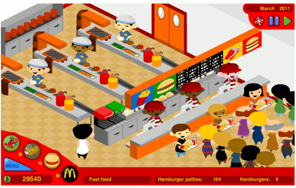 Customers queuing for food at McDonald's