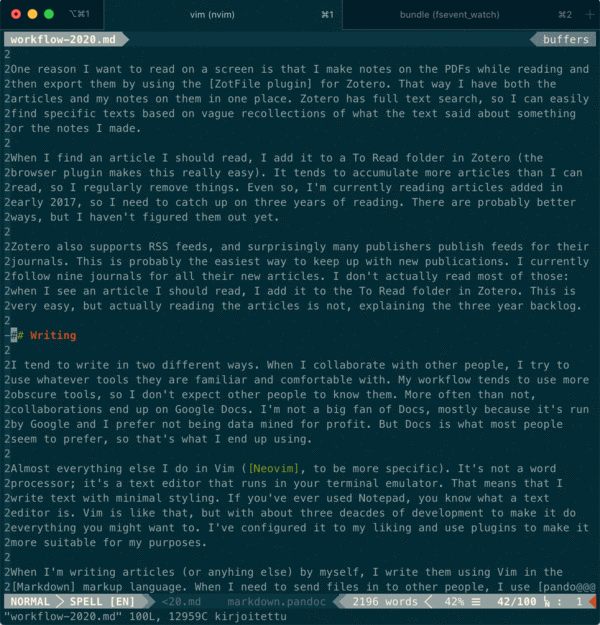 A picture of a terminal emulator, showing this post being edited on Vim